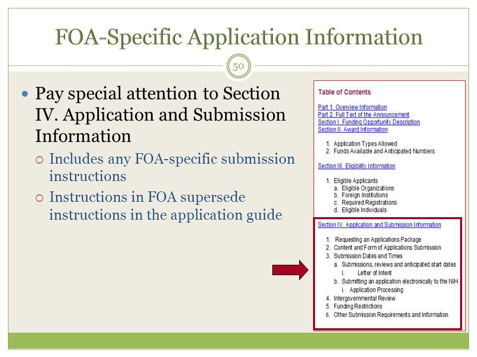 FOA-Specific Application Information