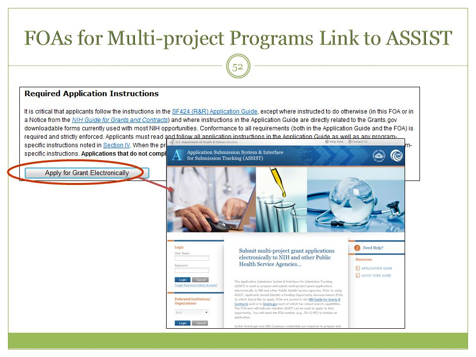 FOAs for Multi-project Programs Link to ASSIST
