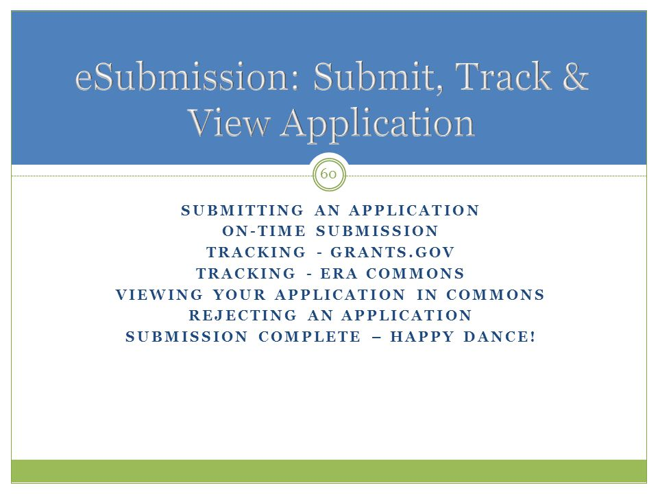 eSubmission: Submit, Track & View Application
