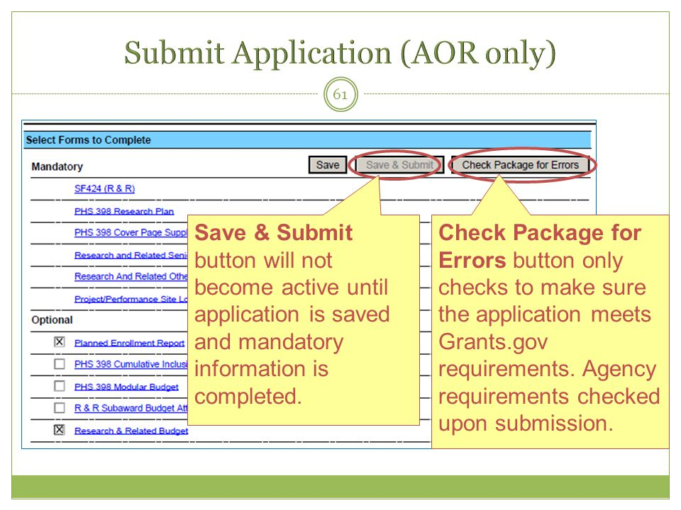 Submit Application (AOR only)