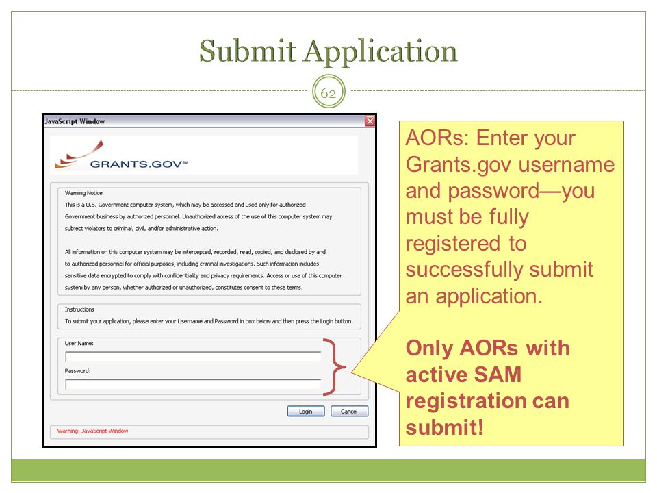 Submit Application AORs: Enter your Grants.gov username and password—you must be fully registered to successfully submit an application.