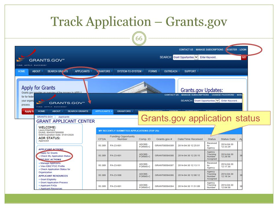 Track Application – Grants.gov