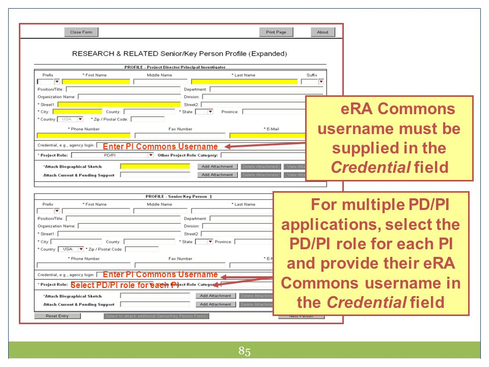 Credential Field eRA Commons username must be supplied in the Credential field. Enter PI Commons Username.