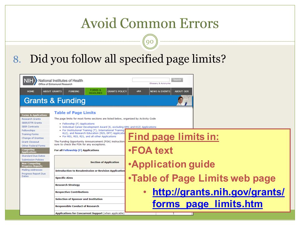 Avoid Common Errors Did you follow all specified page limits