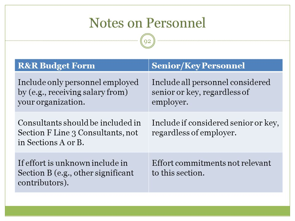 Notes on Personnel R&R Budget Form Senior/Key Personnel