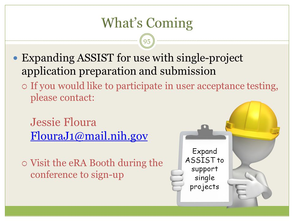 Expand ASSIST to support single projects