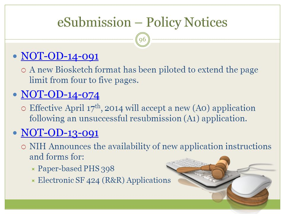 eSubmission – Policy Notices