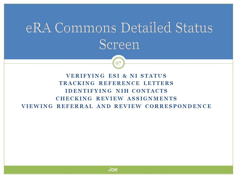 eRA Commons Detailed Status Screen