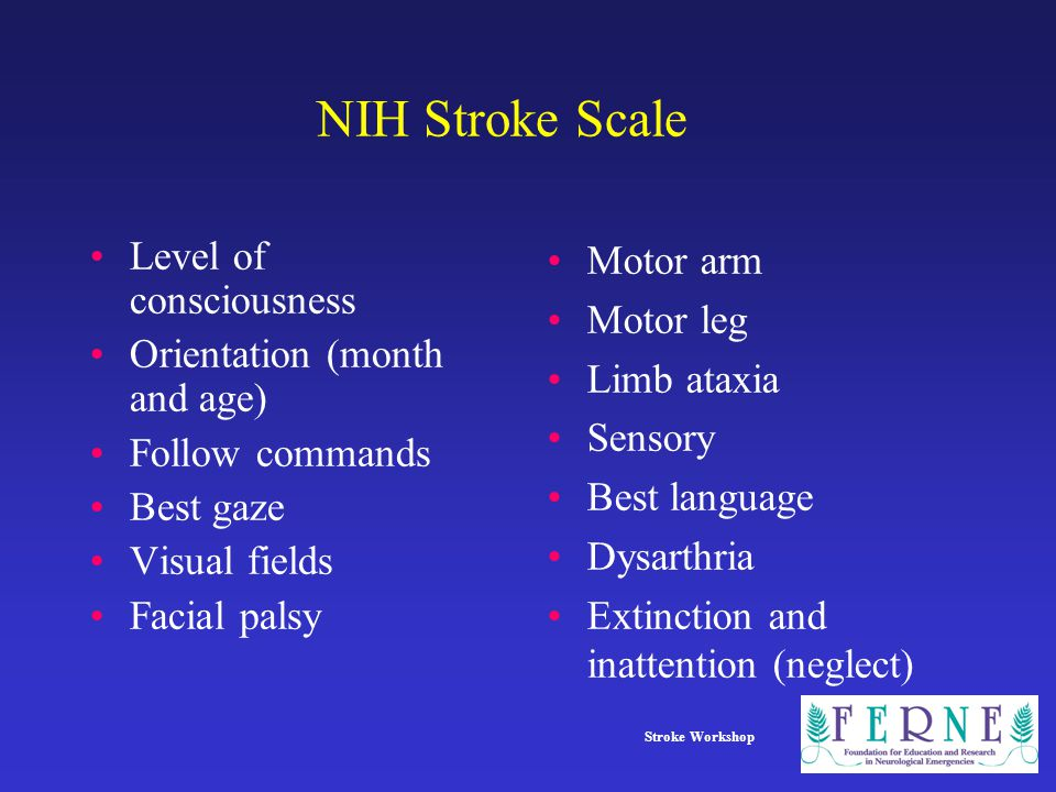 NIH Stroke Scale Level of consciousness Orientation (month and age)