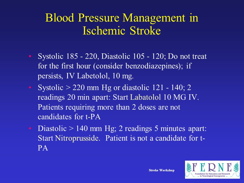 Blood Pressure Management in Ischemic Stroke