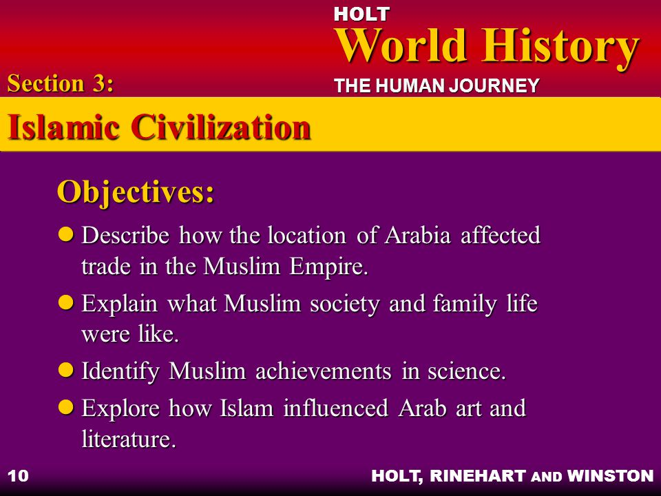 Islamic Civilization Objectives: Section 3: