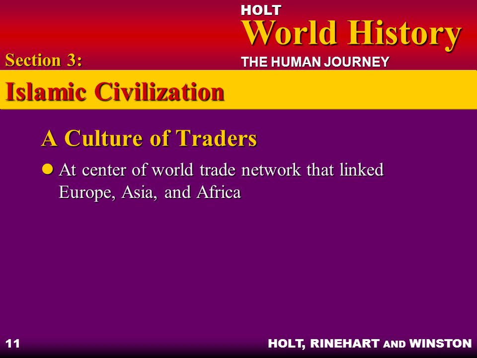 Islamic Civilization A Culture of Traders Section 3:
