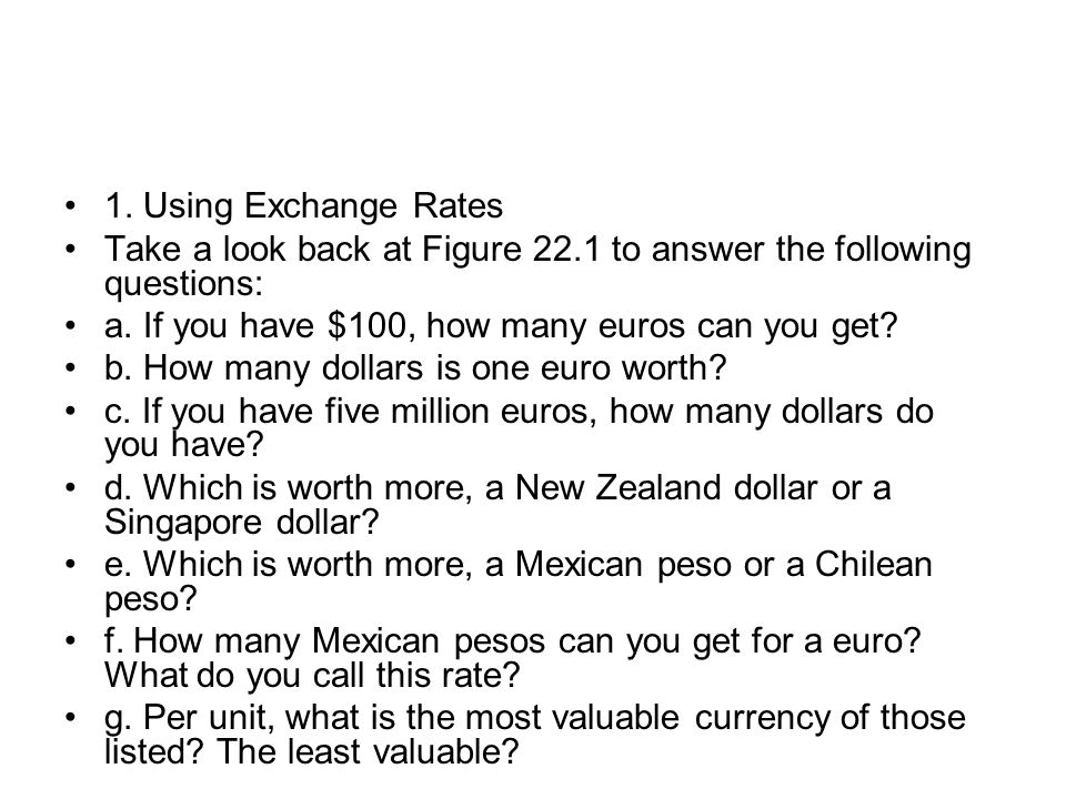 1. Using Exchange Rates Take a look back at Figure 22.1 to answer the following questions: a. If you have $100, how many euros can you get