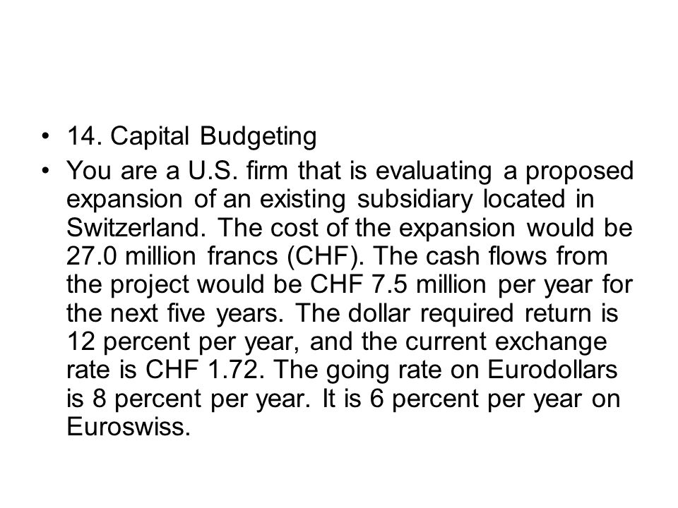 14. Capital Budgeting