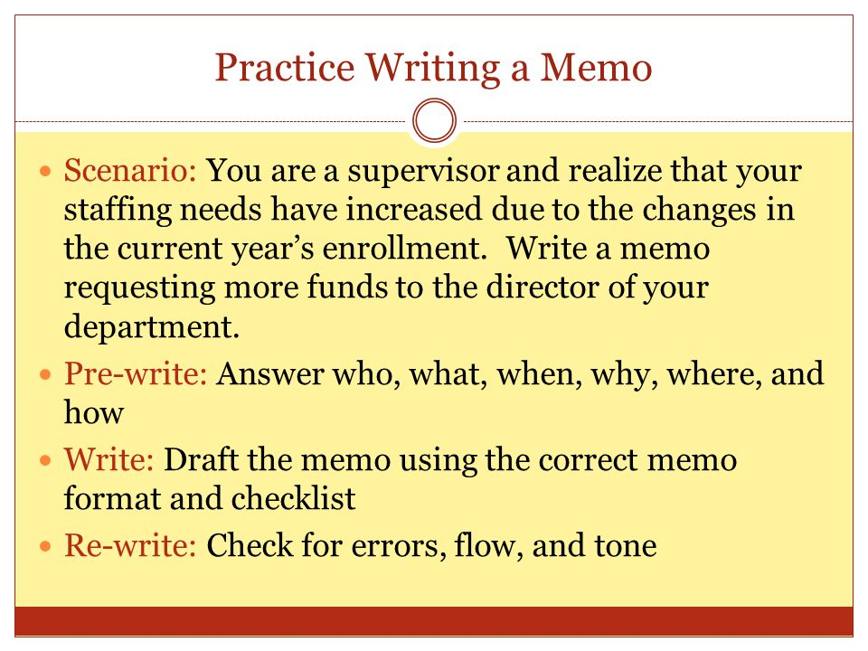 Practice Writing a Memo