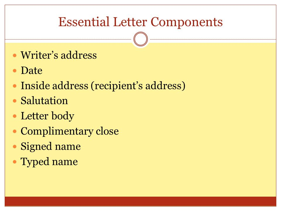 Essential Letter Components