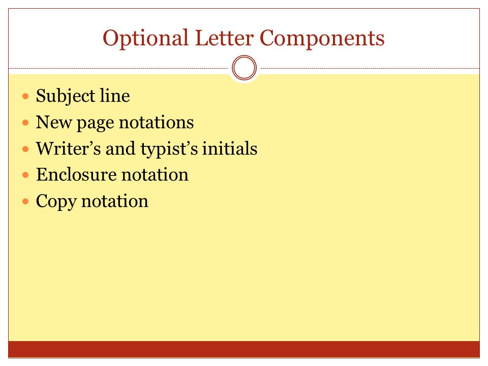 Optional Letter Components