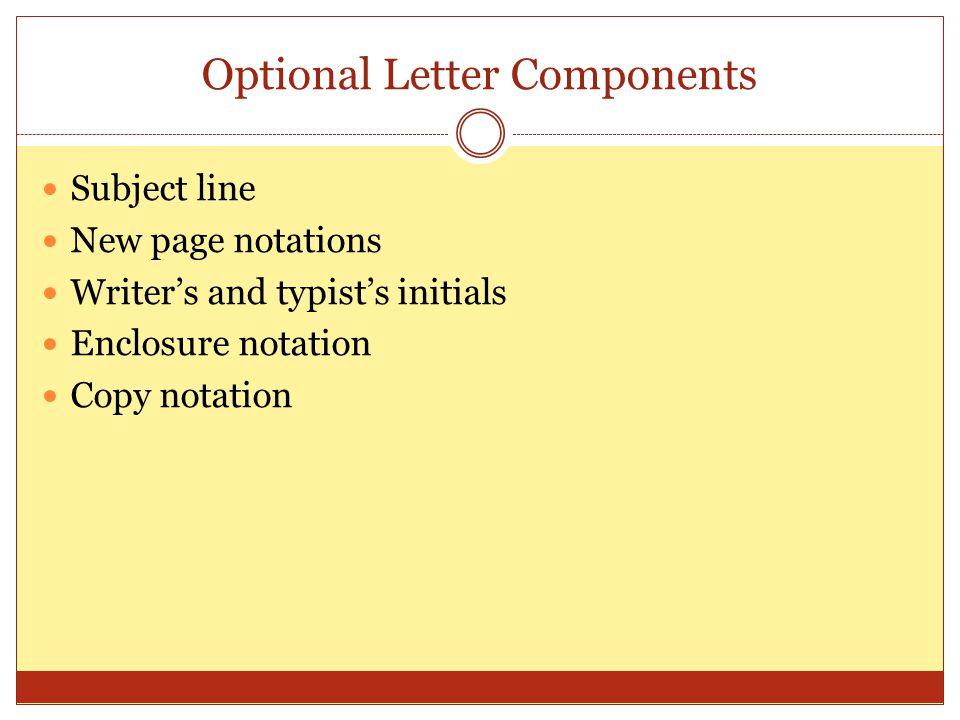 Optional Letter Components
