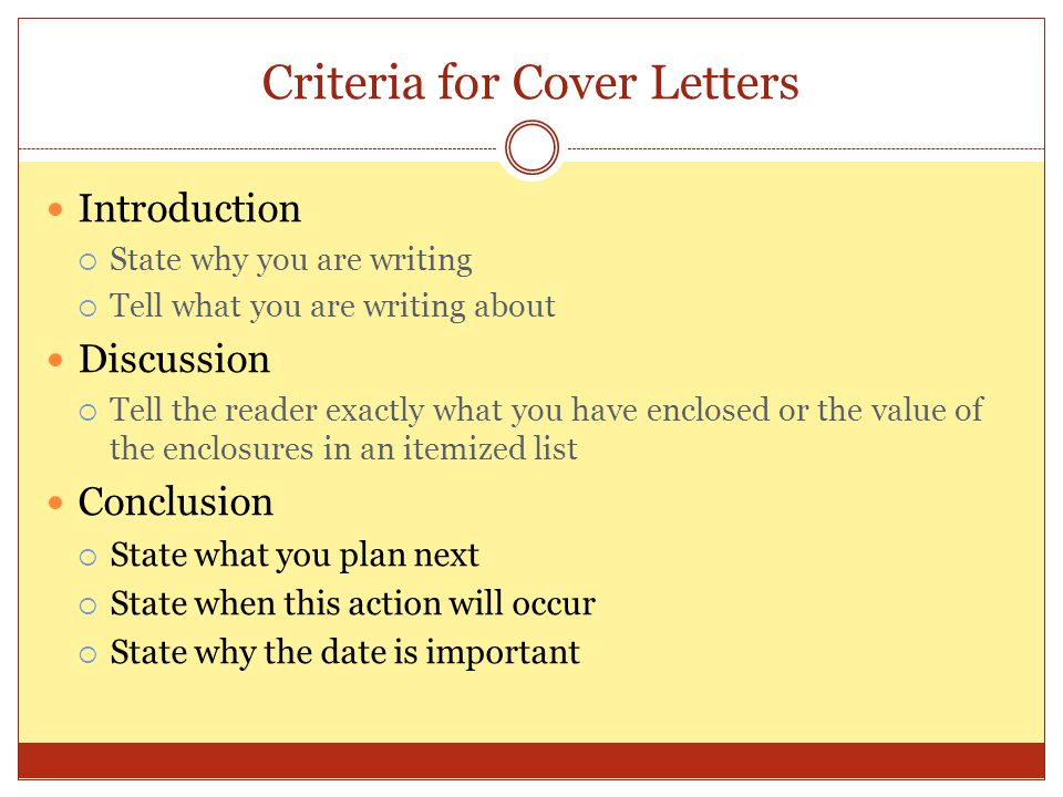 Criteria for Cover Letters