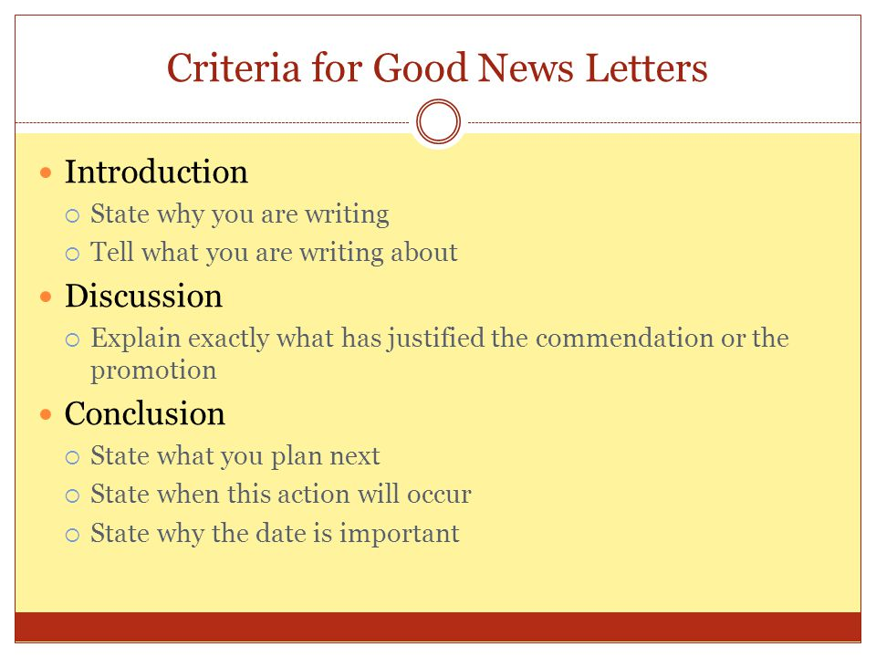 Criteria for Good News Letters