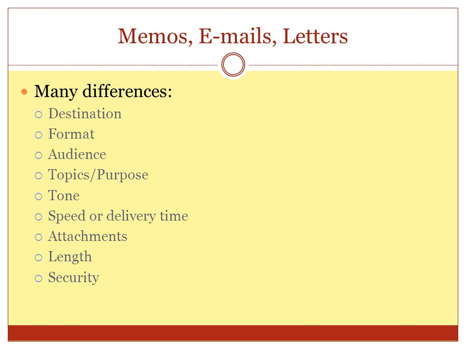 Memos, E-mails, Letters Many differences: Destination Format Audience