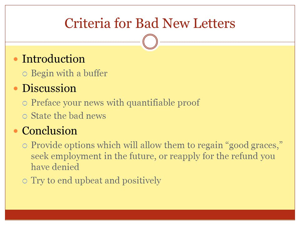 Criteria for Bad New Letters
