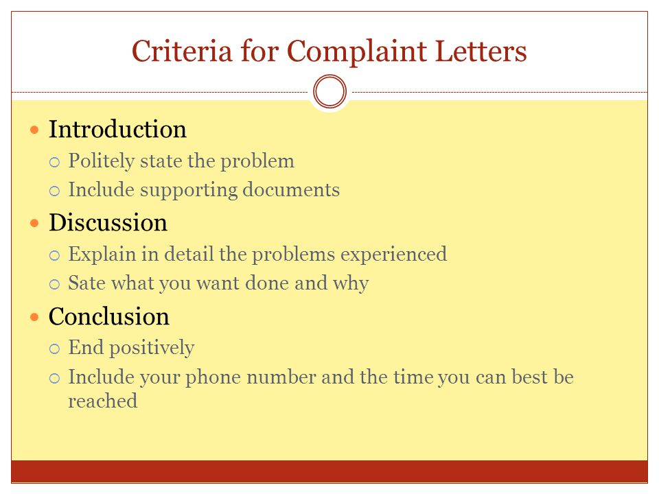 Criteria for Complaint Letters