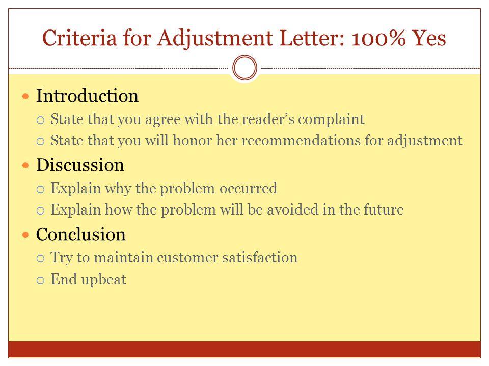 Criteria for Adjustment Letter: 100% Yes