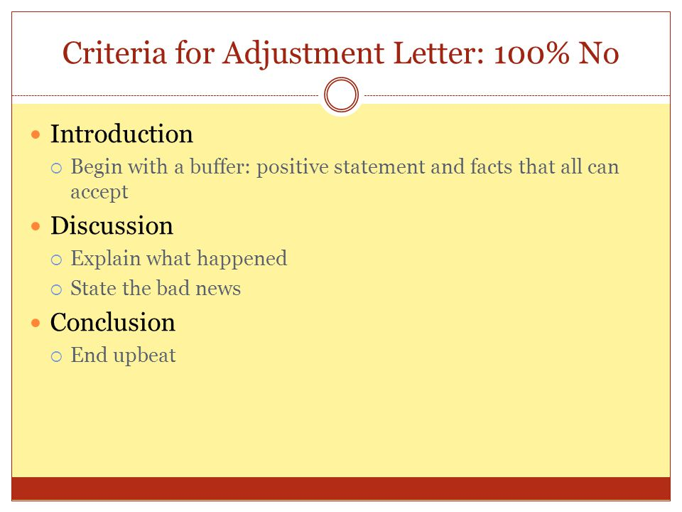 Criteria for Adjustment Letter: 100% No