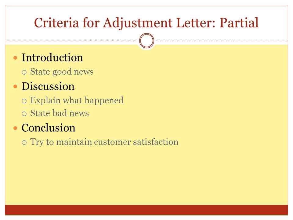 Criteria for Adjustment Letter: Partial