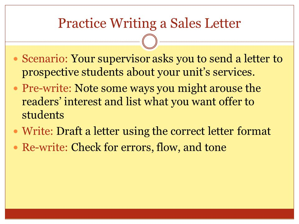 Practice Writing a Sales Letter