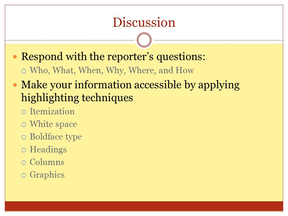 Discussion Respond with the reporter's questions:
