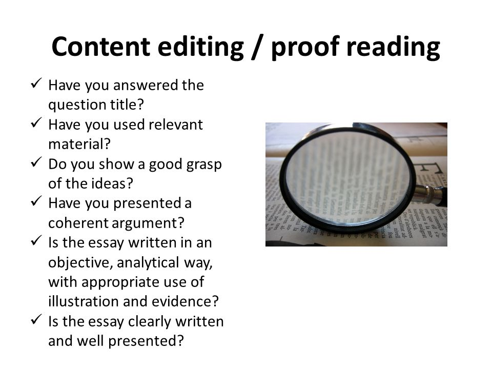 Content editing / proof reading