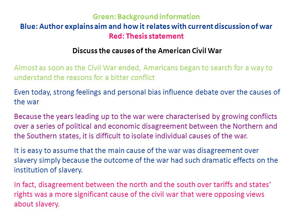 Green: Background information Blue: Author explains aim and how it relates with current discussion of war Red: Thesis statement Discuss the causes of the American Civil War