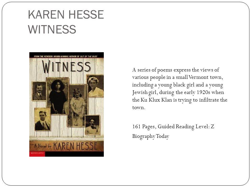 KAREN HESSE WITNESS