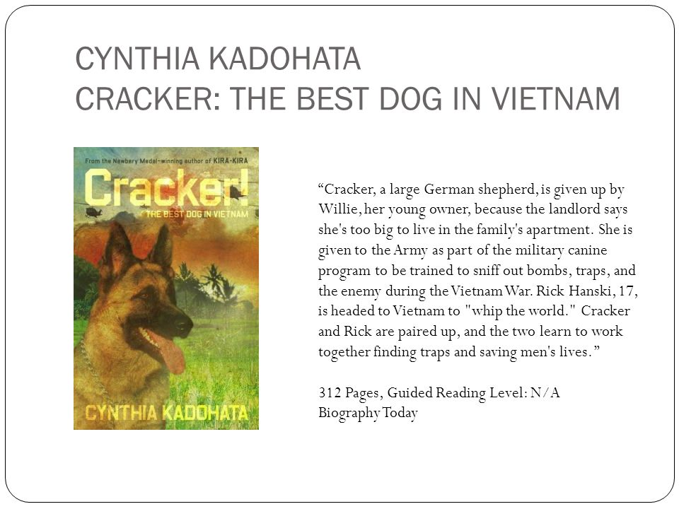 CYNTHIA KADOHATA CRACKER: THE BEST DOG IN VIETNAM