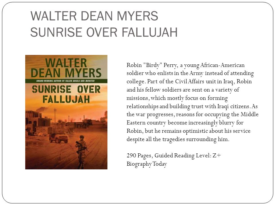 WALTER DEAN MYERS SUNRISE OVER FALLUJAH