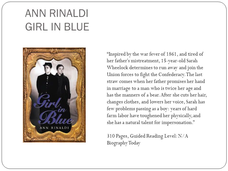 ANN RINALDI GIRL IN BLUE