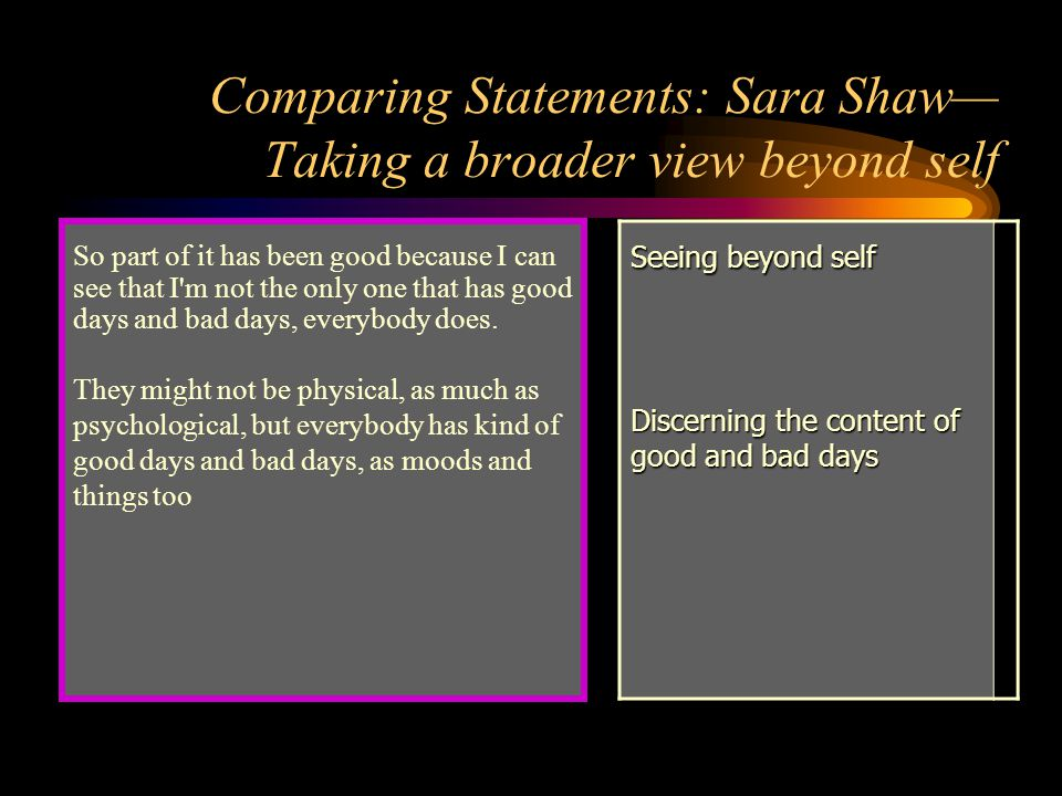 Comparing Statements: Sara Shaw— Taking a broader view beyond self