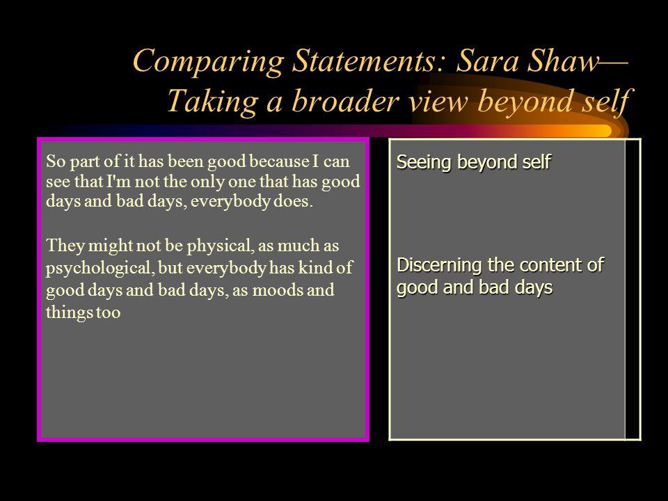 Comparing Statements: Sara Shaw— Taking a broader view beyond self