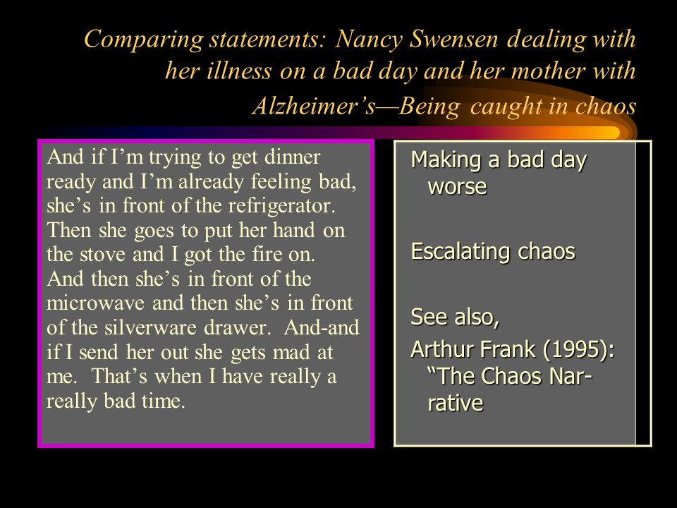 Comparing statements: Nancy Swensen dealing with her illness on a bad day and her mother with Alzheimer's—Being caught in chaos