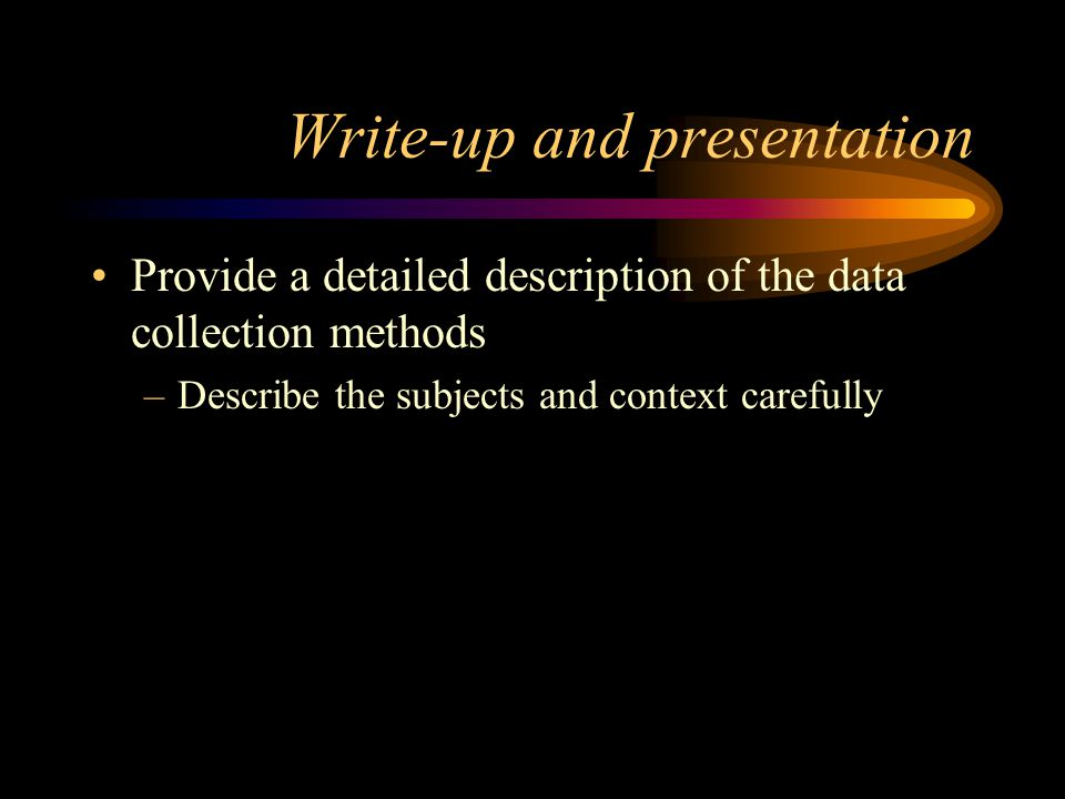 Write-up and presentation