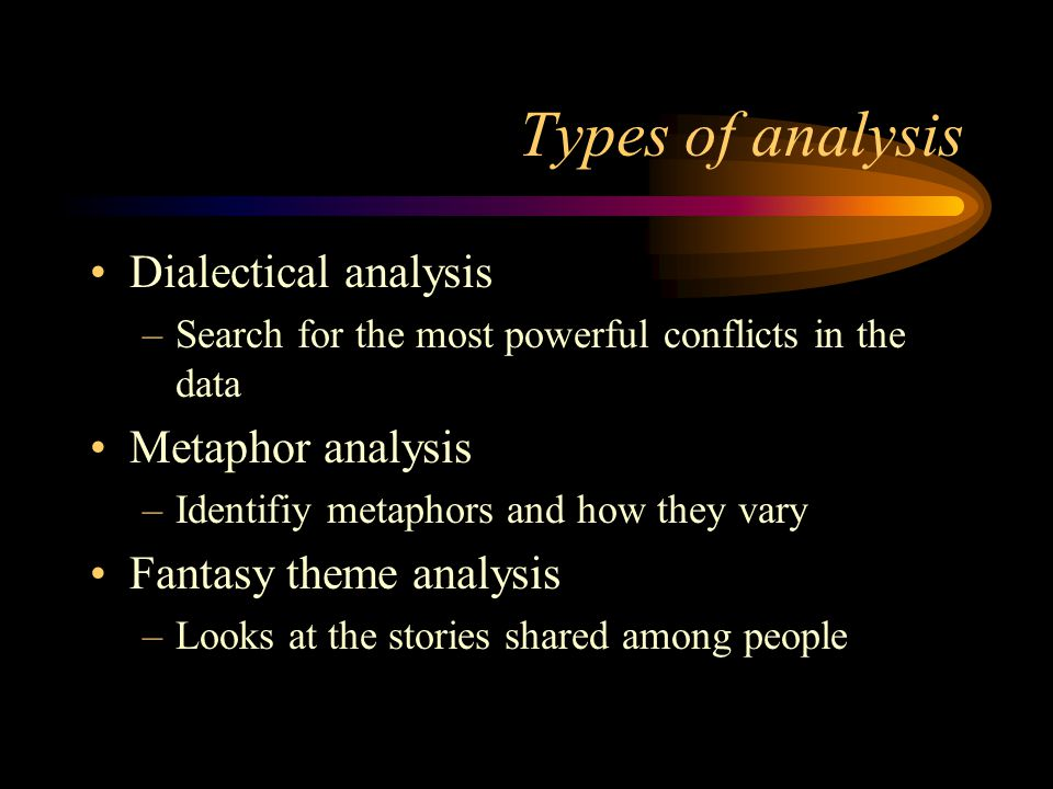 Types of analysis Dialectical analysis Metaphor analysis