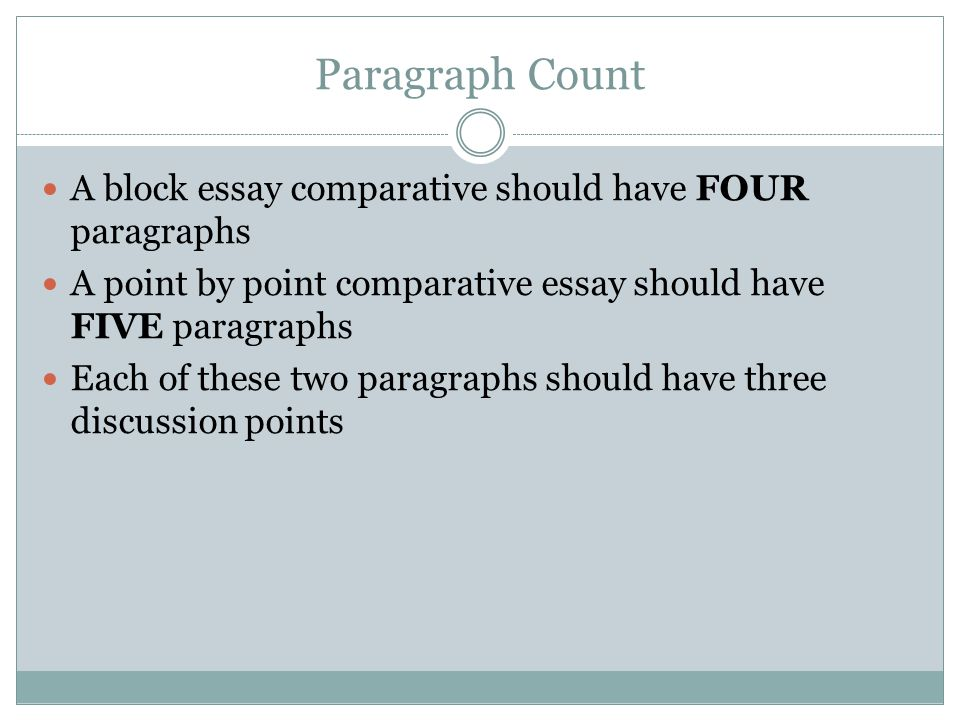 Paragraph Count A block essay comparative should have FOUR paragraphs