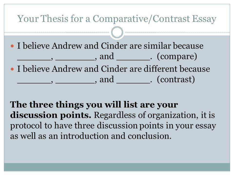 Your Thesis for a Comparative/Contrast Essay