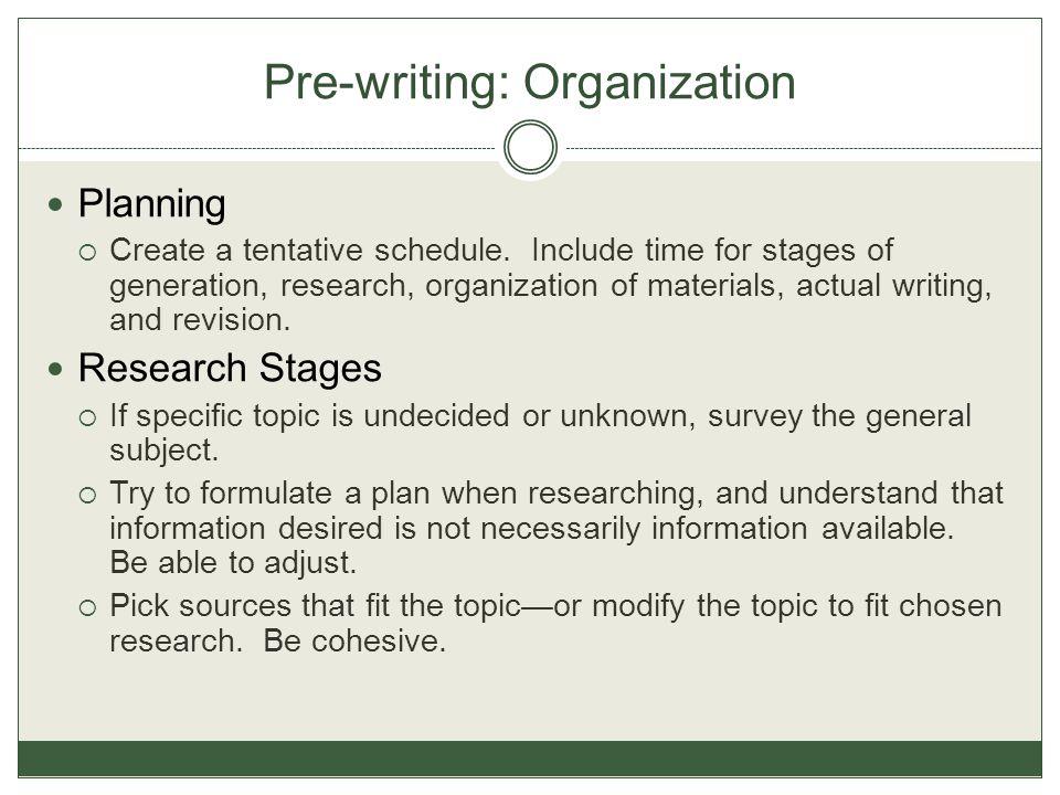 Pre-writing: Organization