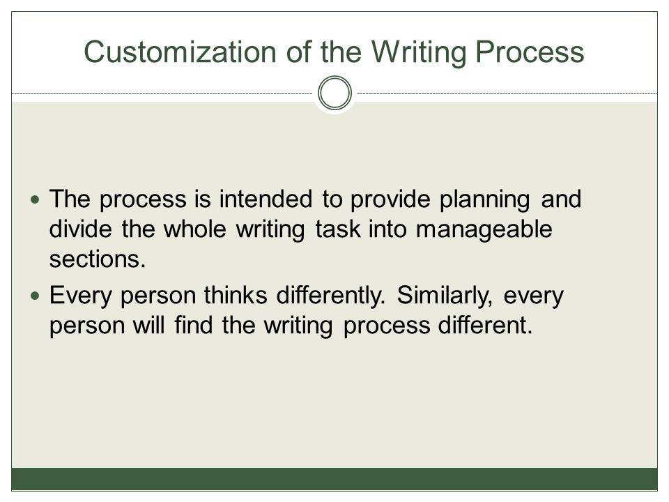 Customization of the Writing Process