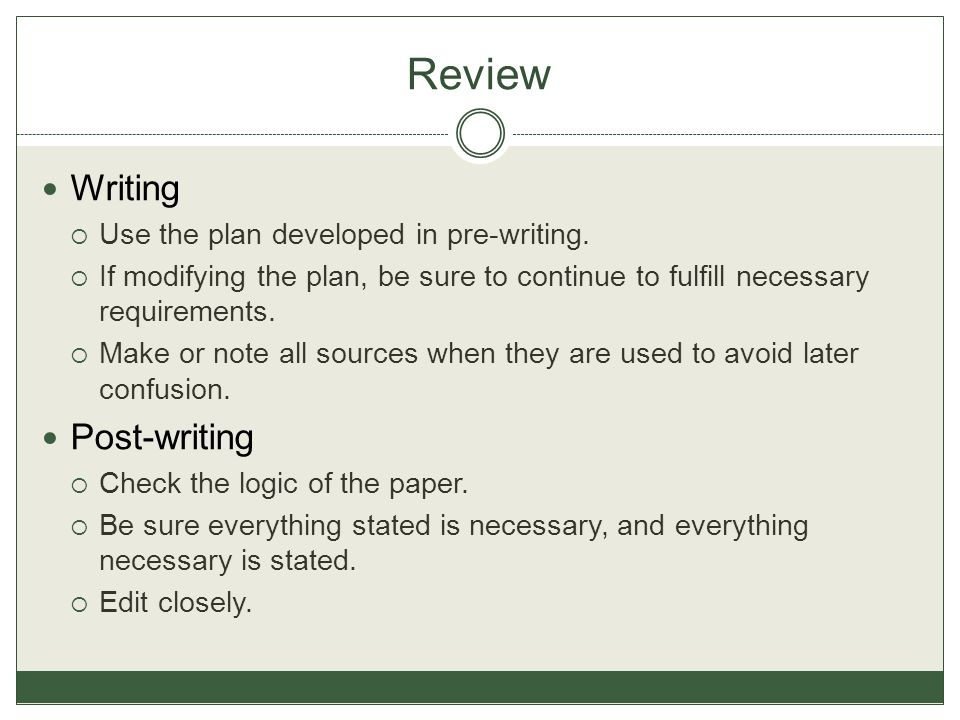 Review Writing Post-writing Use the plan developed in pre-writing.