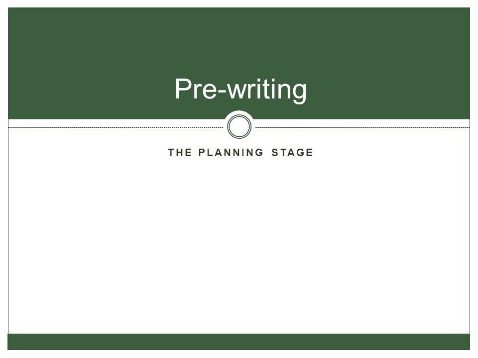 Pre-writing The planning stage