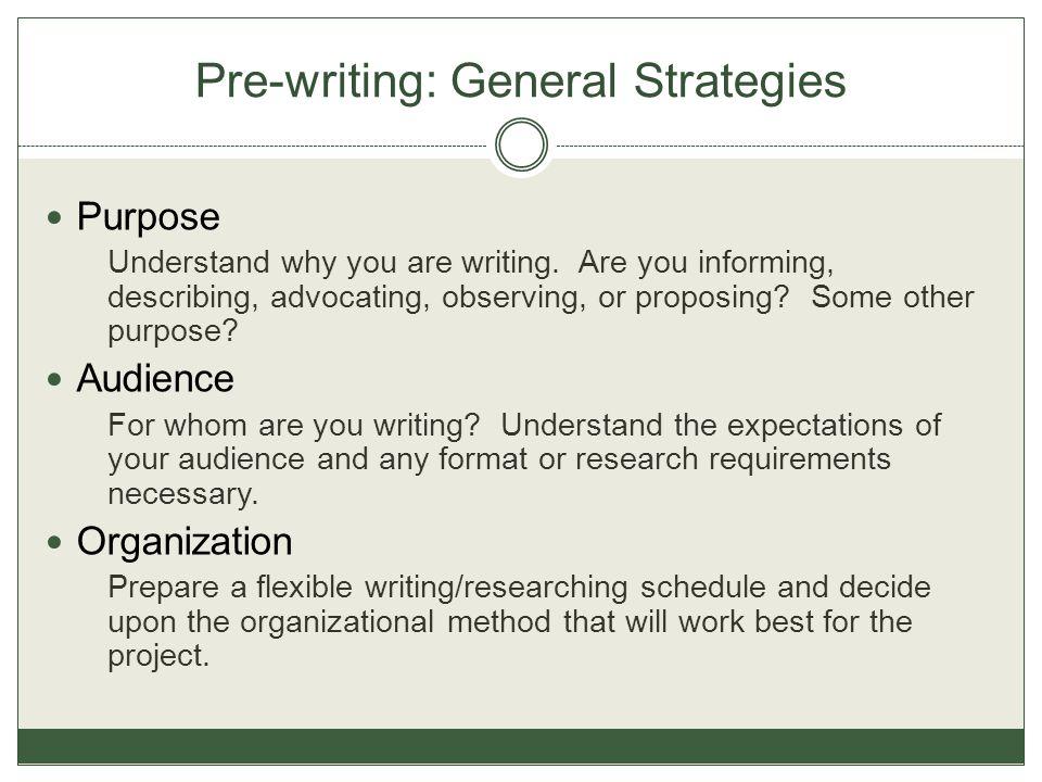 Pre-writing: General Strategies